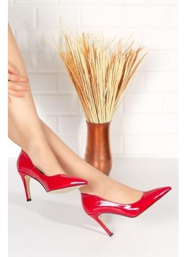 Derithy Elegante Topuklu Ayakkabı-Ten Suet-Byc2001 Kırmızı